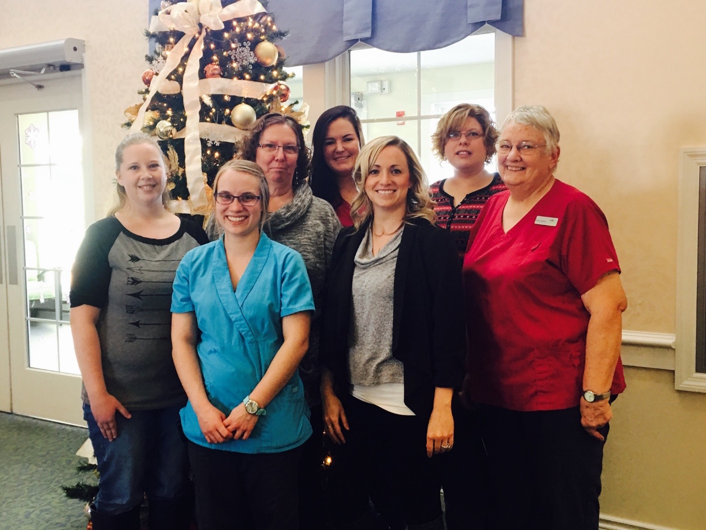 Picture left to right: Certified Medication Aide, Megin Lang; Certified Medication Aide, Alissa Koski; Director of Nursing, Leann Hintz, Certified Medication Aide, Haley Tschetter, Administrator, Lindsey Sainsbury, Certified Medication Aide, Deanna Mickelson; and Cook, Lil Odell.